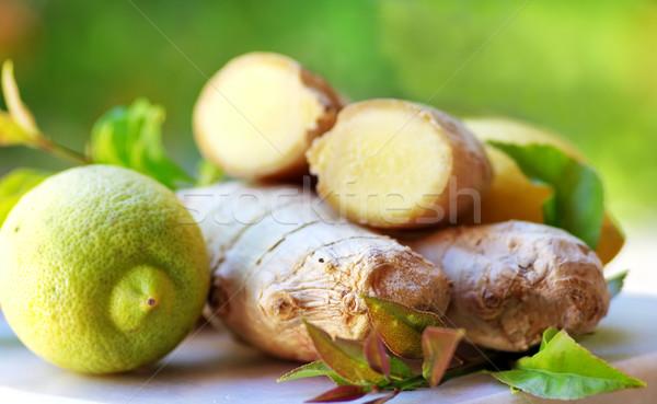 Gyömbér citrom zöld orvosi természet egészség Stock fotó © inaquim