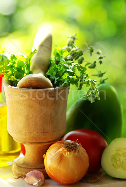 Utensils and ingredients of mediterranic cuisine. Stock photo © inaquim