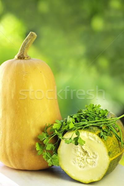 тыква таблице продовольствие фон оранжевый зеленый Сток-фото © inaquim