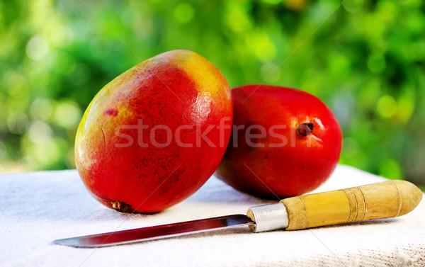Kettő gyümölcsök kés gyümölcs zöld reggeli Stock fotó © inaquim