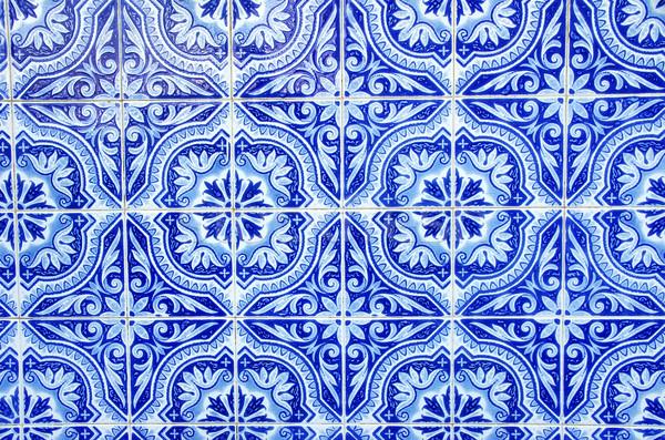 Portuguese blue tiles close-up Stock photo © inaquim