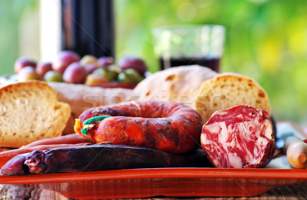 Pão carne carne de porco vinho verde garrafa Foto stock © inaquim