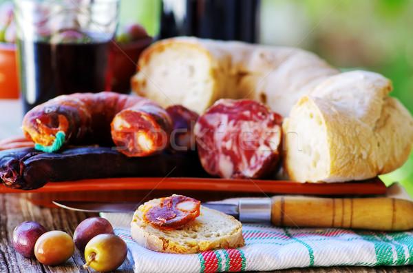 Bread, meat and portuguese wine Stock photo © inaquim