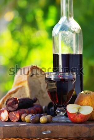 Carne pão vinho tabela restaurante garrafa Foto stock © inaquim