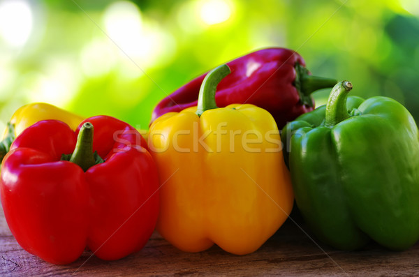 red, yellow and green pepper on green background  Stock photo © inaquim