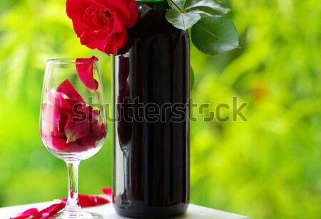Kırmızı gül çiçek mutlu doğa yaprak Stok fotoğraf © inaquim