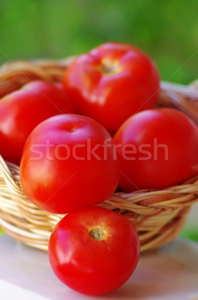 Stok fotoğraf: Olgun · domates · sepet · meyve · sağlık · grup
