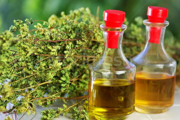 Olio d'oliva aceto origano bouquet luce vetro Foto d'archivio © inaquim