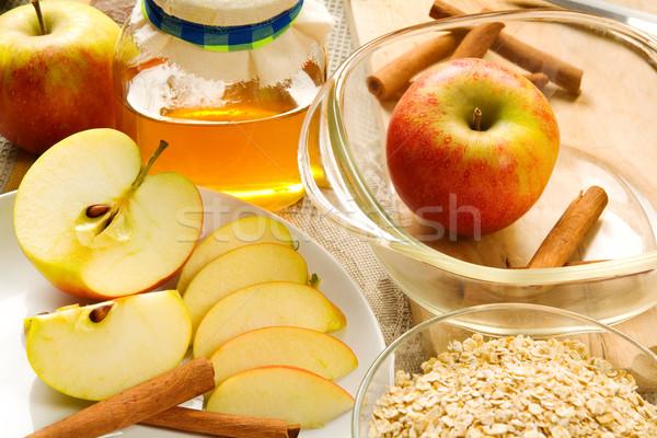 Hozzávalók alma készít friss szeletel almák Stock fotó © IngaNielsen