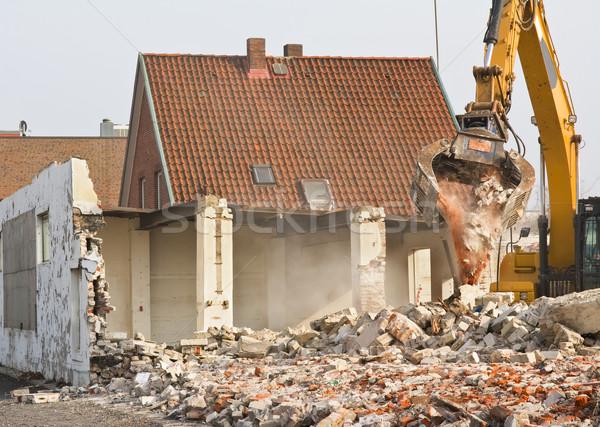 Rombolás épület város építkezés városi por Stock fotó © IngaNielsen
