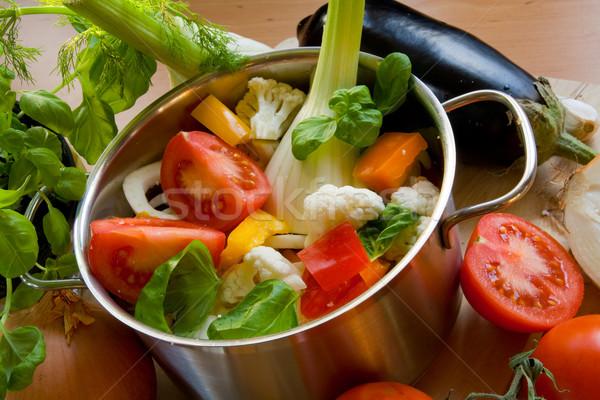 Legumes panela colorido cortar comida verde Foto stock © IngaNielsen