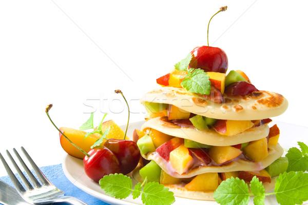 Panquecas pequeno outro fresco colorido frutas Foto stock © IngaNielsen