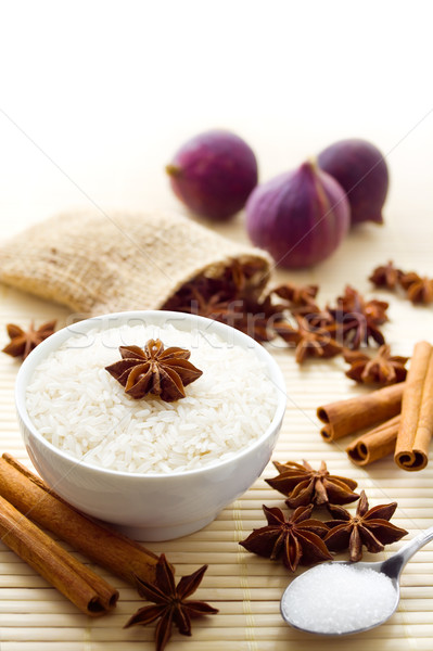 Tatlı pirinç malzemeler sütlaç meyve şeker Stok fotoğraf © IngaNielsen