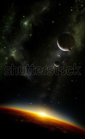 Planètes espace nébuleuse illustration exotiques planète Photo stock © IngaNielsen