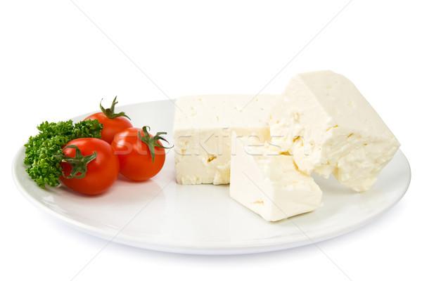 フェタチーズ 白 プレート 装飾された トマト パセリ ストックフォト © IngaNielsen