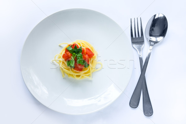 Pequeño pasta porción elegante dieta blanco Foto stock © IngaNielsen