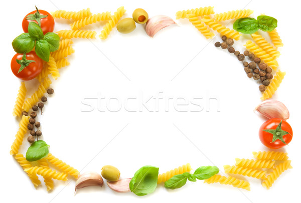 Stock photo: Pasta ingredients frame