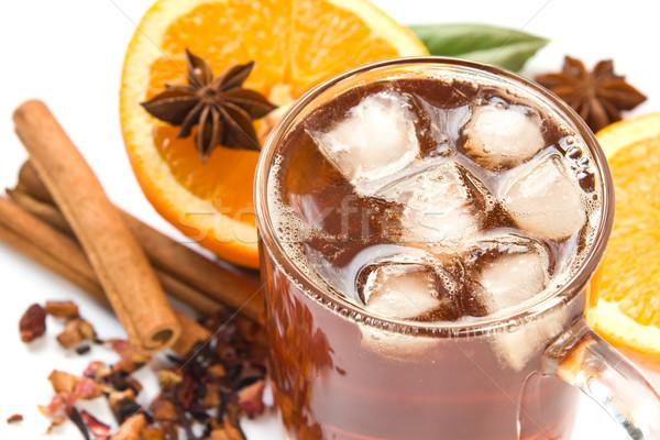 Buzlu çay malzemeler fincan içmek taze Stok fotoğraf © IngaNielsen