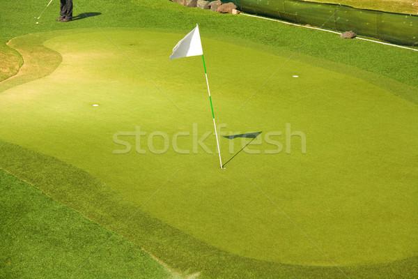 Campo de golfe verde bandeira grama campo bola Foto stock © IngaNielsen