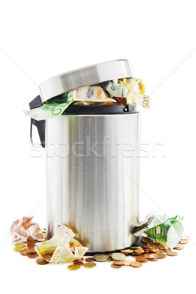 ストックフォト: 廃棄物 · お金 · 周りに · ごみ箱 · 白 · ビジネス