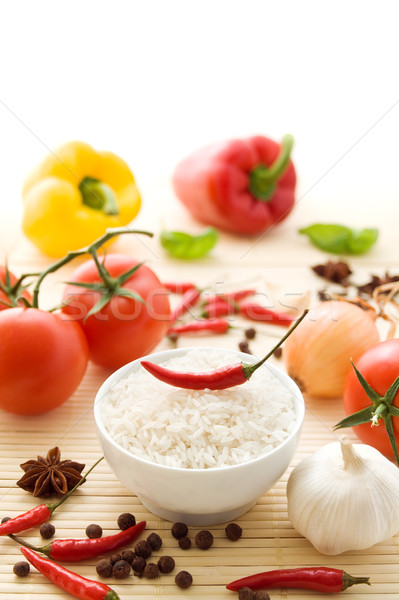 Rice with ingredients Stock photo © IngaNielsen