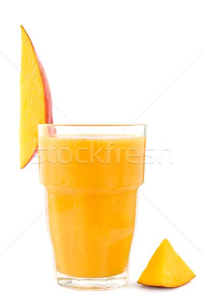 Mango smoothie glas vers witte drinken Stockfoto © IngaNielsen