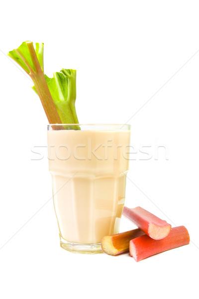 Rabarber drinken gezonde vers glas melk Stockfoto © IngaNielsen