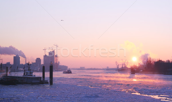 Foto stock: Invierno · amanecer · hamburgo · frío · manana · agua