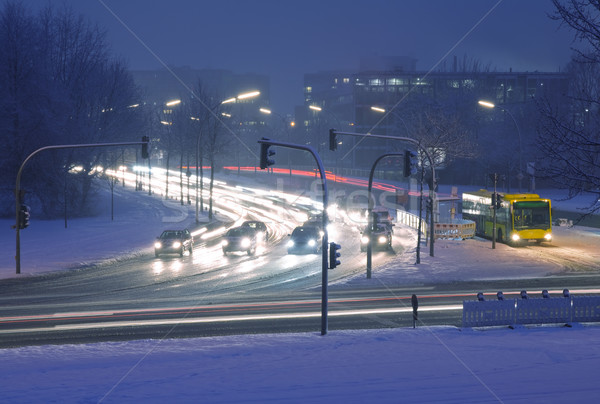 Sokak gece kış trafik kar araba Stok fotoğraf © IngaNielsen