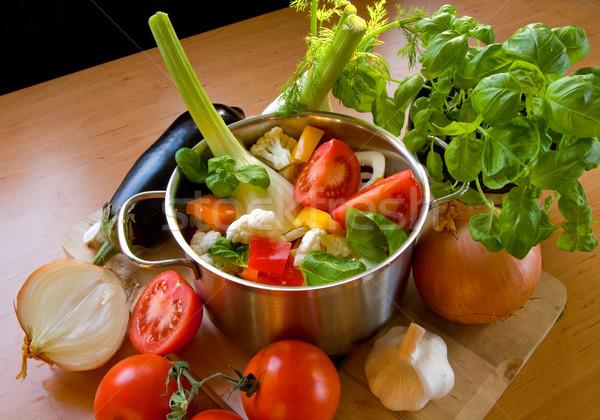 Warzyw rondel kolorowy cięcia żywności Zdjęcia stock © IngaNielsen