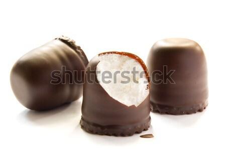 Chocolate covered cream cakes Stock photo © IngaNielsen