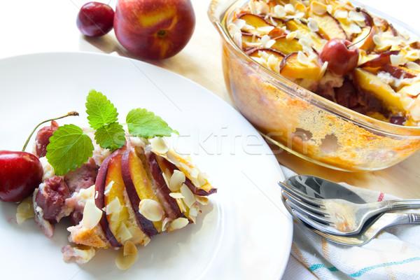 Nectarine and cherry cobbler Stock photo © IngaNielsen