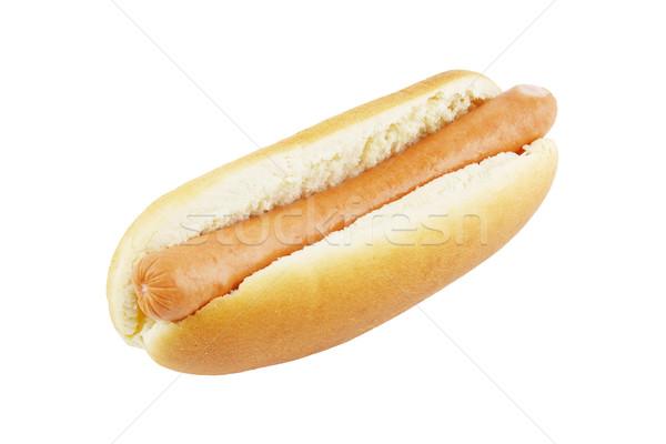 Hot Dog изолированный белый хлеб мяса быстрого питания Сток-фото © IngaNielsen