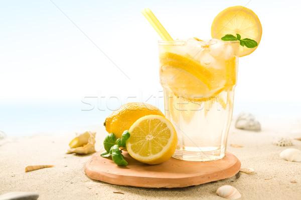 カクテル ビーチ レモン アイスキューブ 装飾された 海 ストックフォト © IngaNielsen