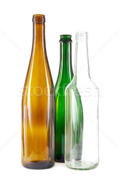 Brown, green and white glass bottles Stock photo © IngaNielsen