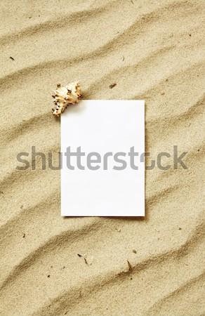 Card on sand Stock photo © IngaNielsen