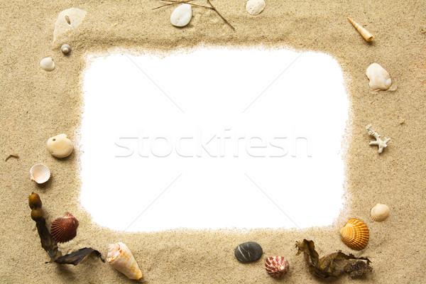 Areia conchas quadro branco vazio cópia espaço Foto stock © IngaNielsen