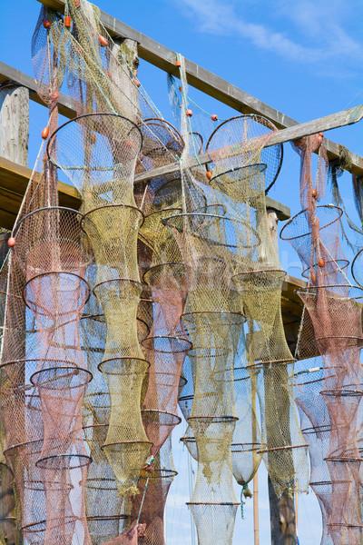 Anguilla rosso giallo impiccagione legno costruzione Foto d'archivio © IngaNielsen