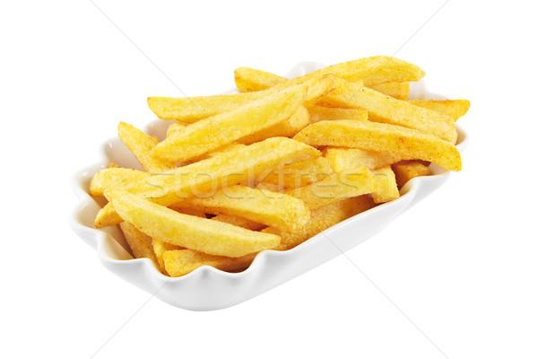 Frytki odizolowany puchar biały żywności żółty Zdjęcia stock © IngaNielsen