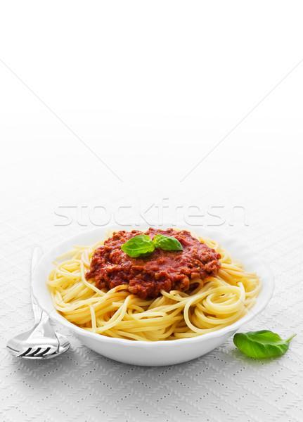 Bowl of spaghetti bolognese Stock photo © IngaNielsen