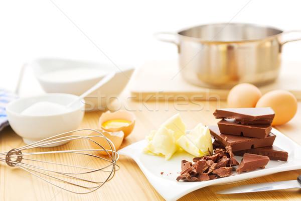 Mousse au chocolat ingredients Stock photo © IngaNielsen