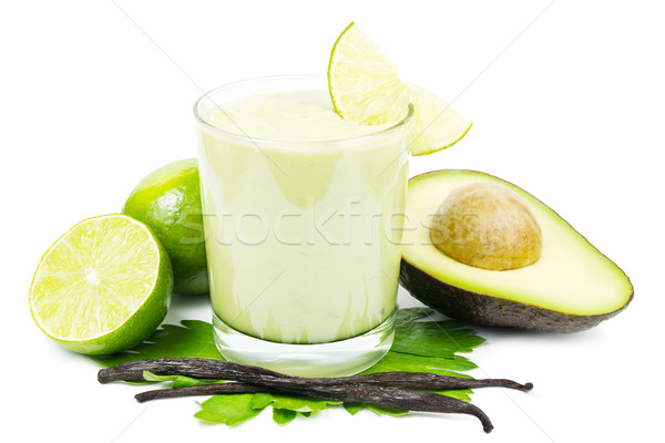 Avocado smoothie on white Stock photo © IngaNielsen