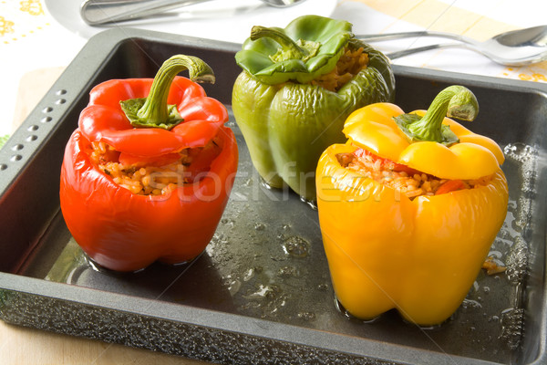 Stuffed bell peppers Stock photo © IngaNielsen