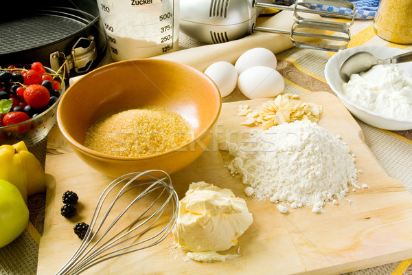 Pastel de frutas ingredientes mesa pie Foto stock © IngaNielsen