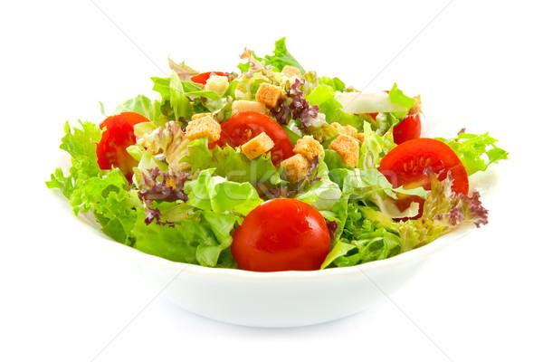 Egészséges saláta friss levelek piros fehér Stock fotó © IngaNielsen