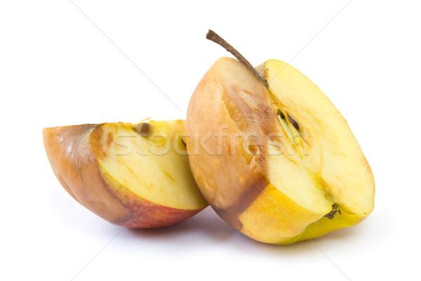 гнилой яблоко Cut изолированный белый Сток-фото © IngaNielsen