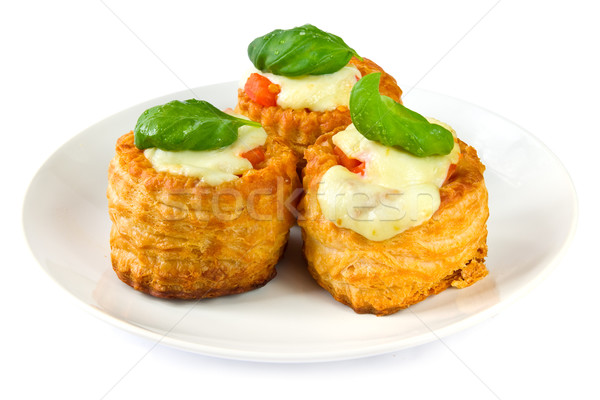 Pastries with tomato and cheese Stock photo © IngaNielsen