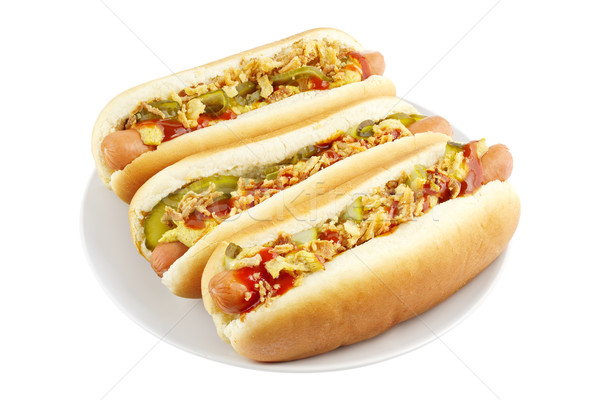 Hot dogs on plate Stock photo © IngaNielsen