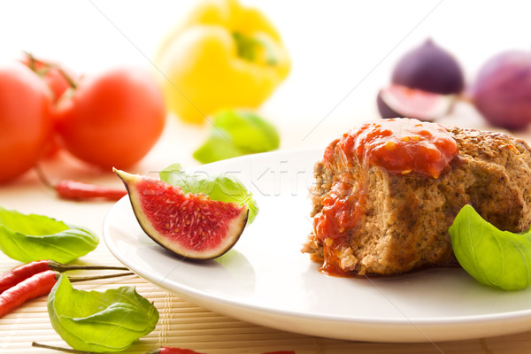 Meatball with chili sauce Stock photo © IngaNielsen