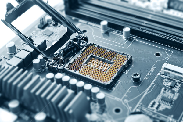 CPU socket on motherboard blue Stock photo © IngaNielsen